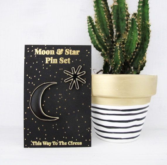 Moon & Star Enamel Pin Set