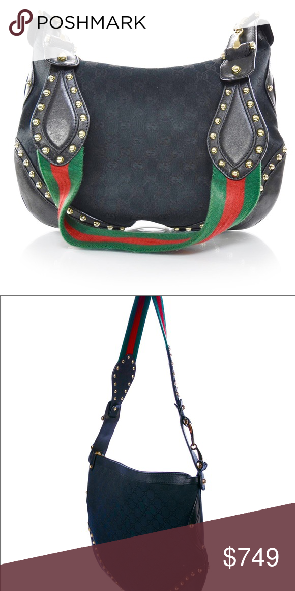 b85cd6407bfb Authentic!!!🎉💖Gucci Black Pelham Handbag! Serial number  153691001998 ❤ ❤  this Handbag!!❤ ❤ Monogram Studded Pelham Shoulder Bag Black This ...