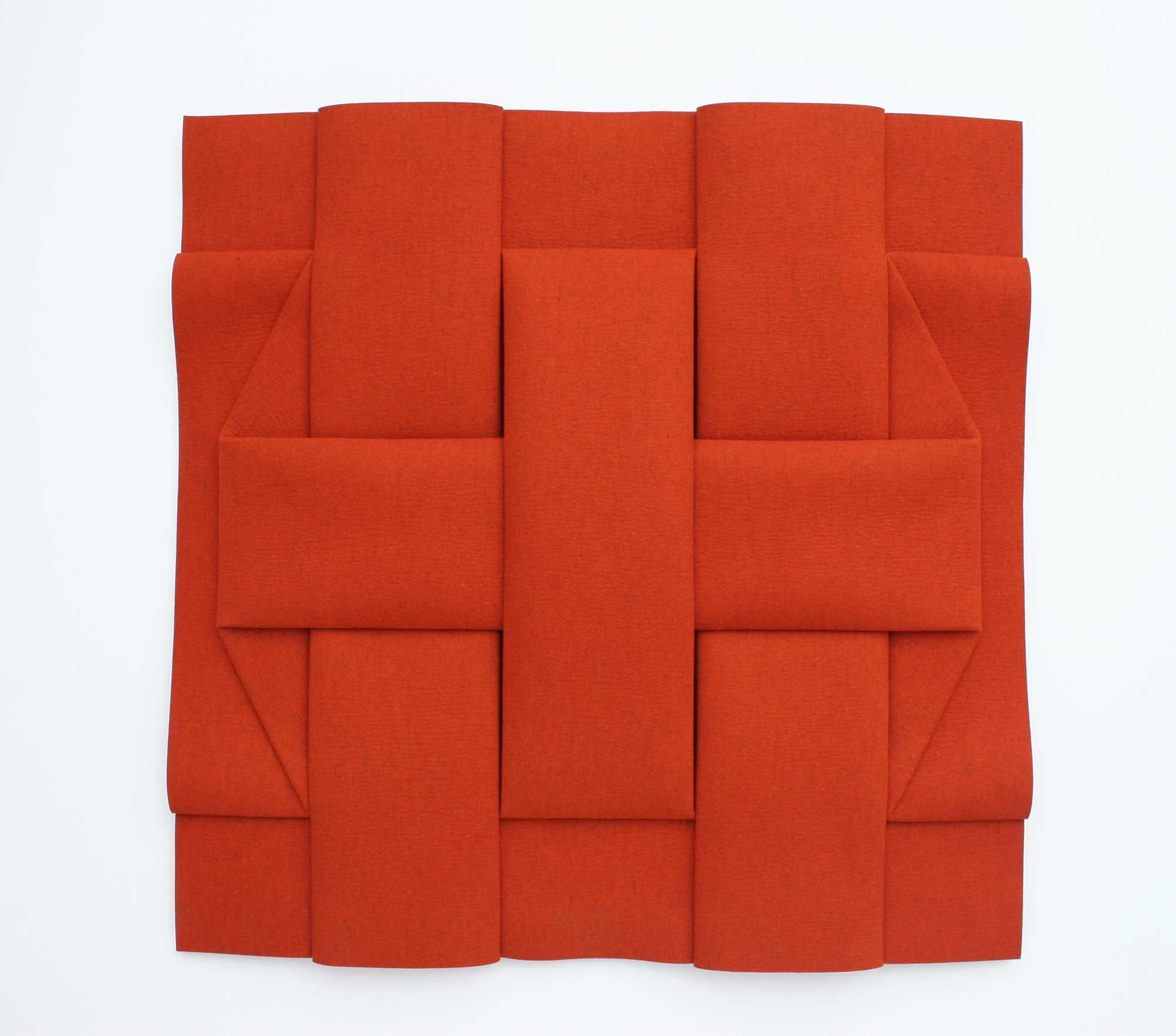 "Peter Weber [Germany] (b 1944) ~ ""Stripes Interpenetration II FOR6"", 2012. Folded Felt (94 x 94 cm). | #art #relief #minimalart #conceptualart #hardedge"