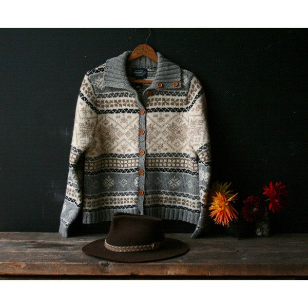 Vintage Wool Cardigan Sweater Womens Gray Black and White Vintage... ($38) ❤ liked on Polyvore featuring tops, vintage tops, white and black top, eddie bauer, black white top and wool tops