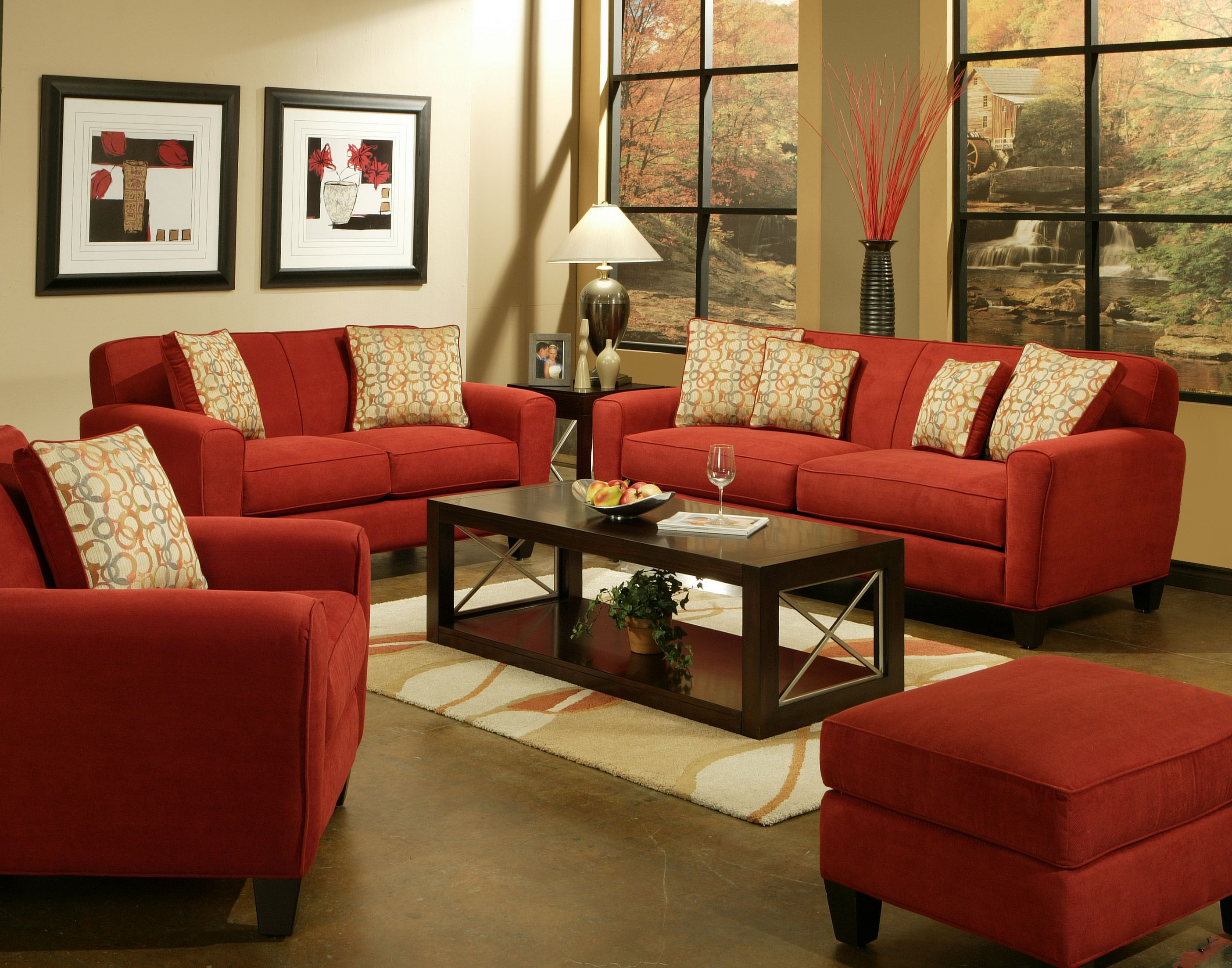 Lauren Sofa Sofa Sleeper Loveseat Chair Ottoman Accent Chairs Ottomans Also Available Red Couch Living Room Home Room Design Furniture