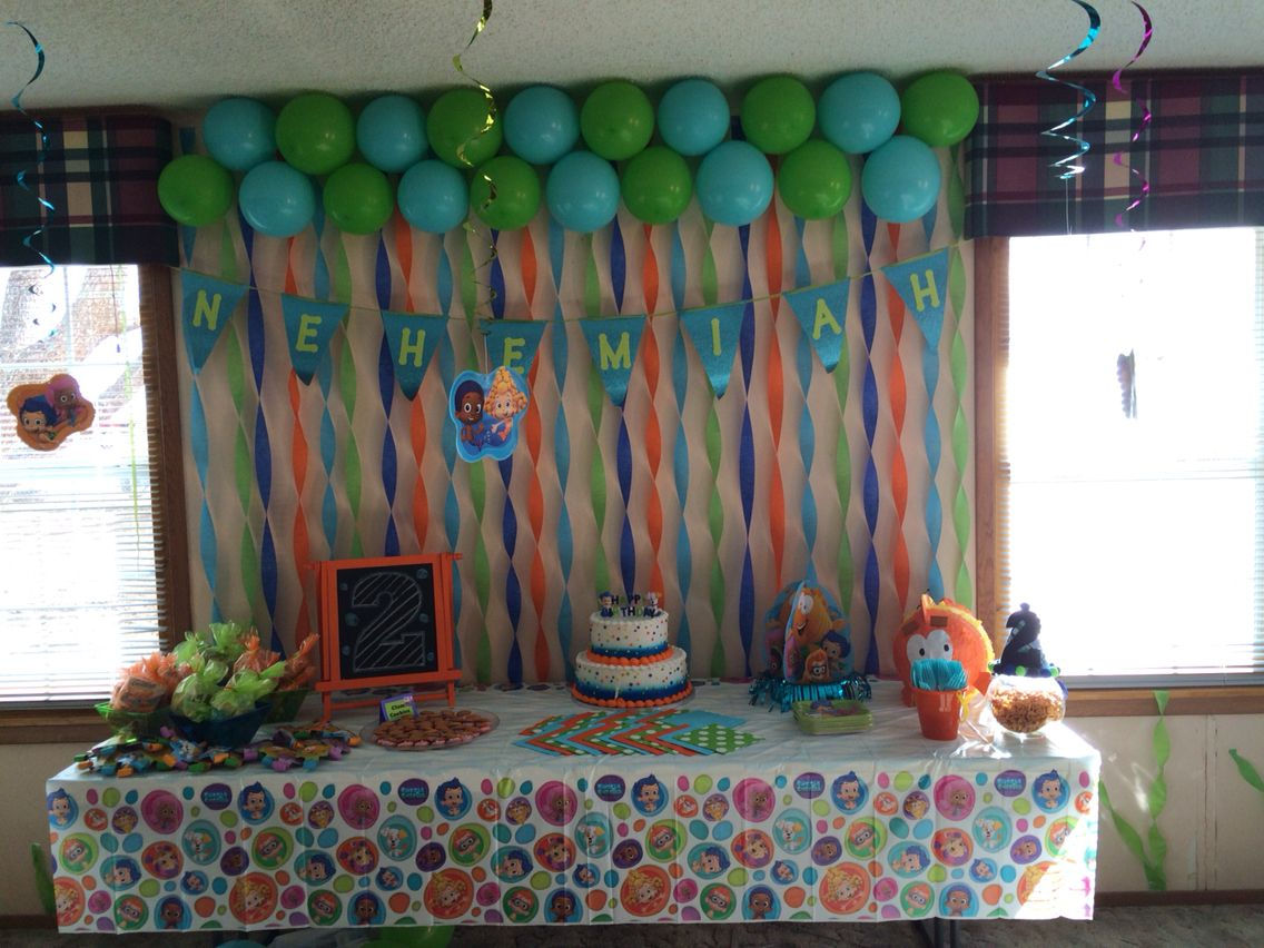 Nehemiahs 2nd Birthday Party Background Bubble Guppies Blue green