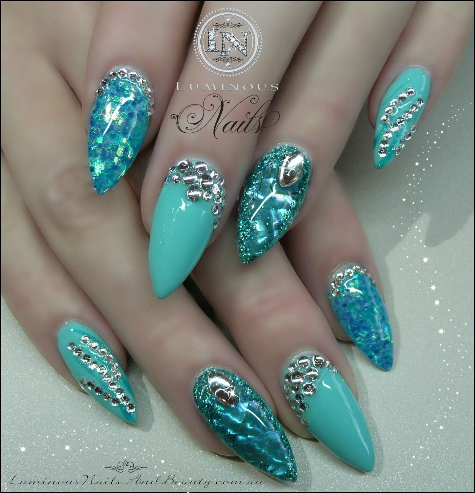 Acrylic Nail Photos With Glitter Turquoise Blue Opal Nails Shimmer