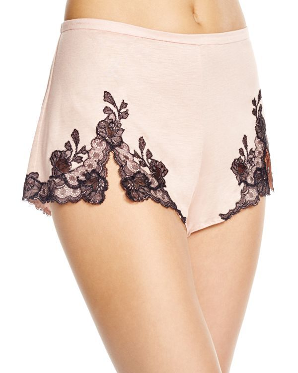 Delicate lace graces these so-comfy modal shorts from Josie Natori, making them a breezy essential for nights and weekends. | Modal; lace: nylon | Hand wash | Imported | Elasticized waistband, contras