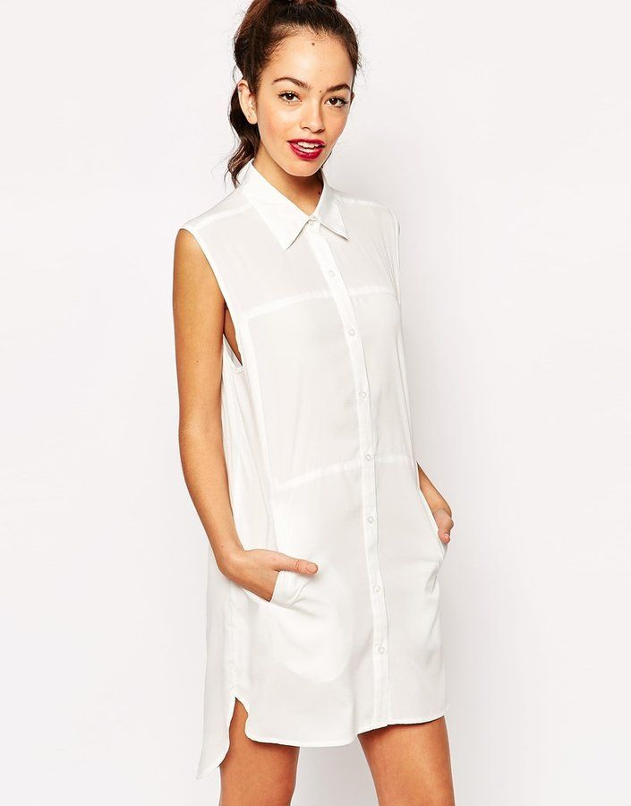 Pin for Later: Your Summer Wardrobe Isn't Complete Without a Little White Dress Daisy Street Sleeveless Shirt Dress Daisy Street Sleeveless Shirt Dress (£23)