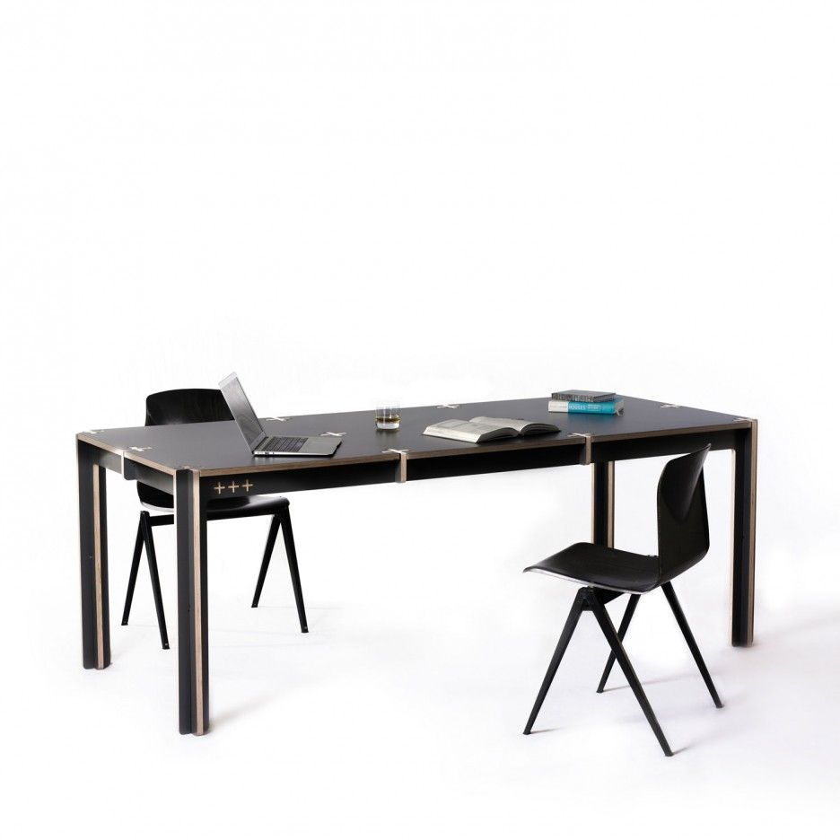 Innovative Table Design by Fraaiheid: Black Colored Plus Shaped Table With Black Chairs