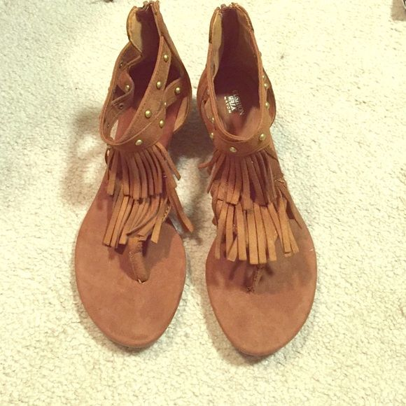 NWOT. Cushion Walk by Avon Sandals Brown suede fringe sandals with tiny gold detail from Cushion Walk  by Avon. Never worn, and there is little bit of a wedge on them. Cushion Walk  Shoes Sandals
