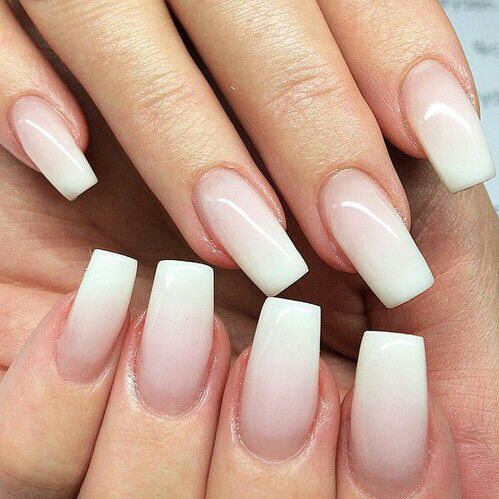 White Pink Fade Nails