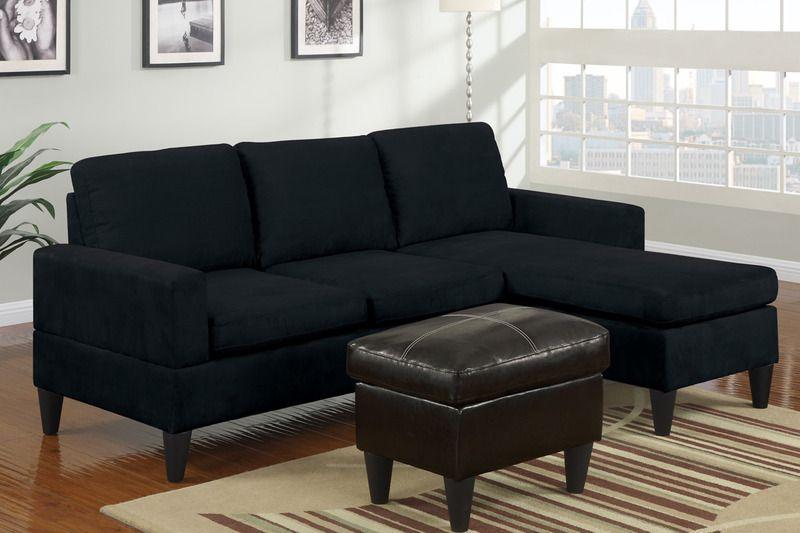 Modern Small Black Microfiber Sectional Sofa Reversible ...