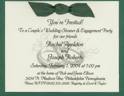 wording couple wedding shower invitation