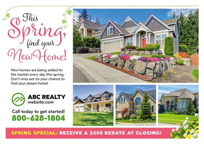 Spring Real Estate Marketing Postcards By Postcardmania Com Real Estate Marketing Postcards Real Estate Postcards Marketing Postcard