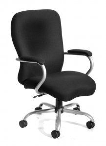 """Boss Heavy Duty Microfiber Chair  SKU: B990 Big mans chair. 2 paddle spring tilt mechanism which can be locked in any position throughout the tilt range. Pneumatic gas lift seat height adjustment. 27"""" brushed metal five star base. 3"""" double wheel casters. Weight capacity 350lbs. Upholstered in Black Microfiber."""
