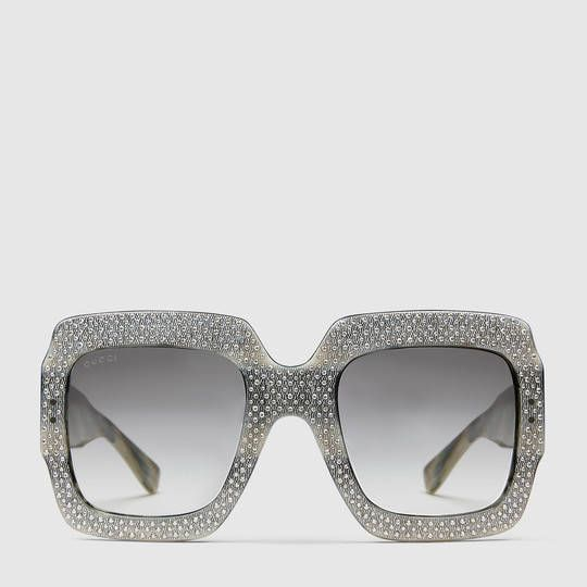 a4c4492016 Gucci Oversize square-frame rhinestone sunglasses