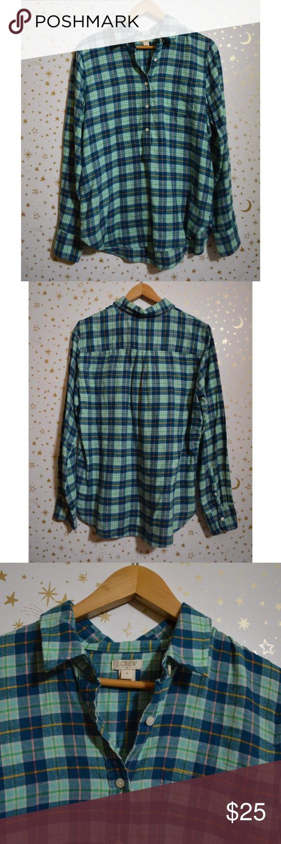 J. Crew Factory Blue & Mint Flannel Shirt Medium Size medium from J. Crew factory. Blue and mint col...