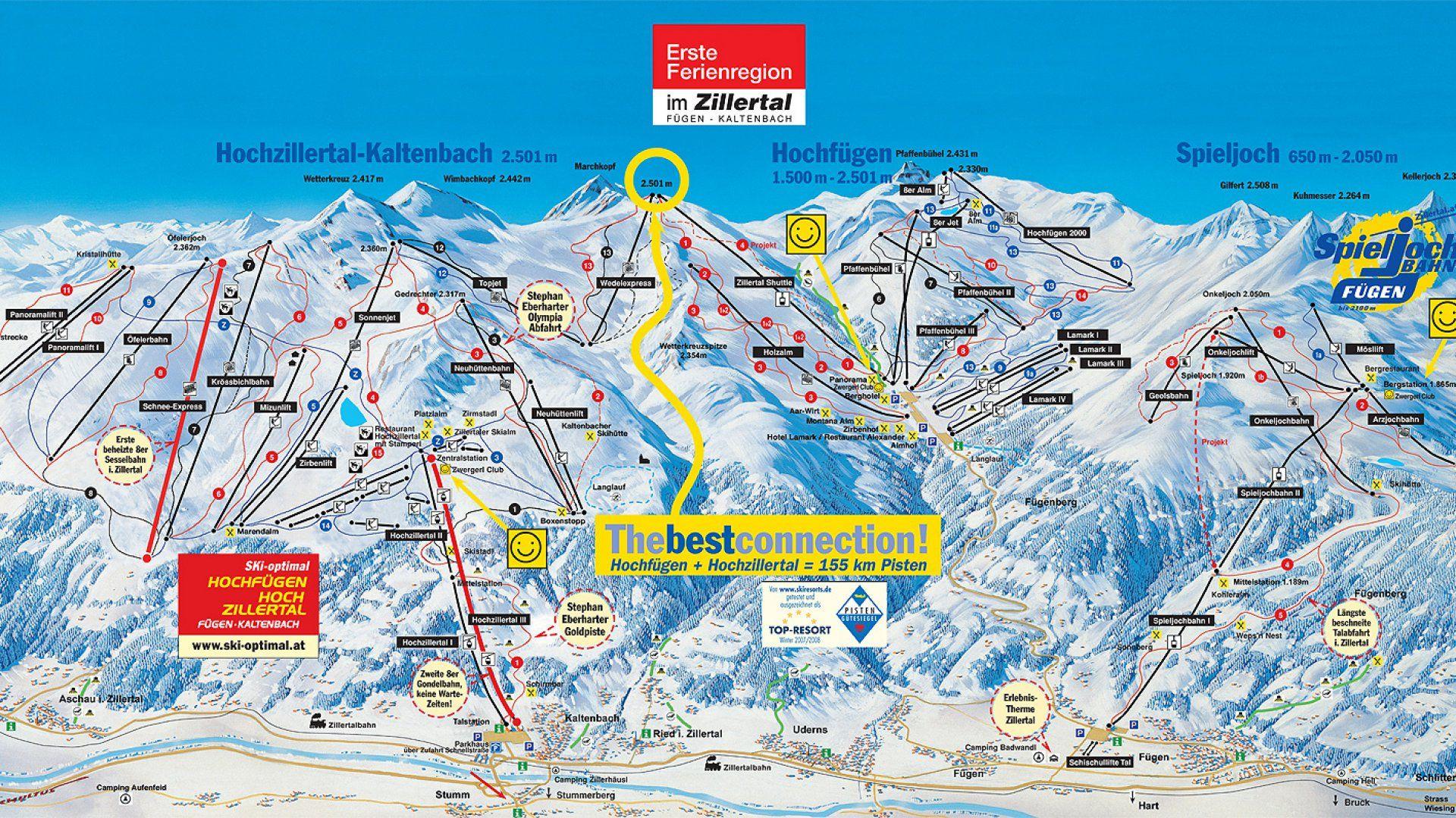 Wintersportkarte Hochfugen Und Hochzillertal Wintersport Skien Ski