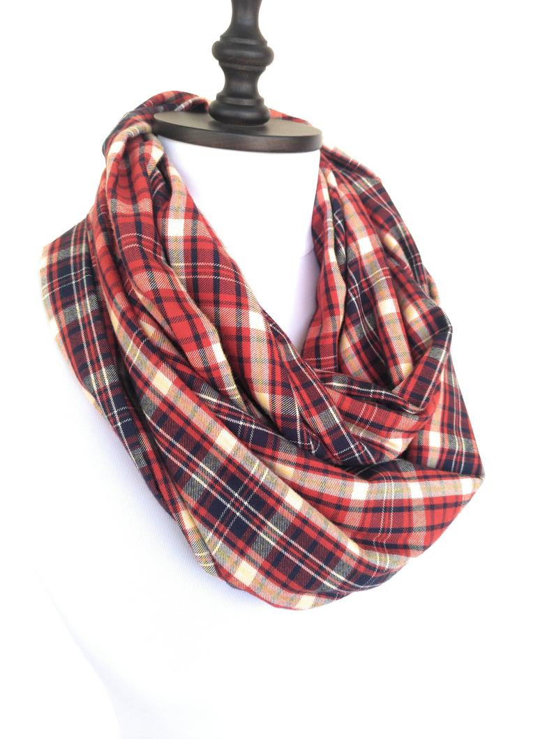 Plaid Scarf Men Infinity Scarf Mens Scarf Plaid Infinity Scarf - Winter Scarves For Women Gift Christmas Gift For Men Gift For Him #mensscarves
