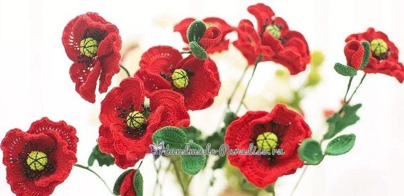 Красные МАКИ крючком. Схемы вязания | Amapolas rojas, Bolsa crochet ...