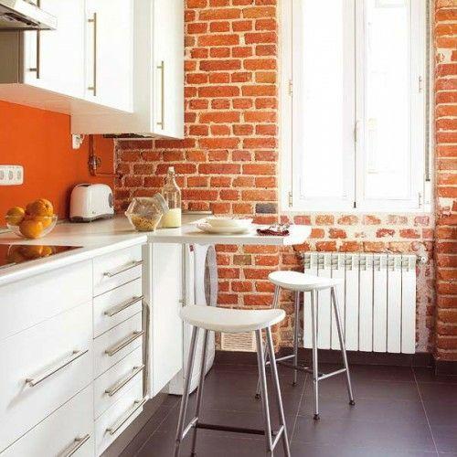 praktische esstische ideen für ihre kompakte küche - ziegelwand, Innenarchitektur ideen