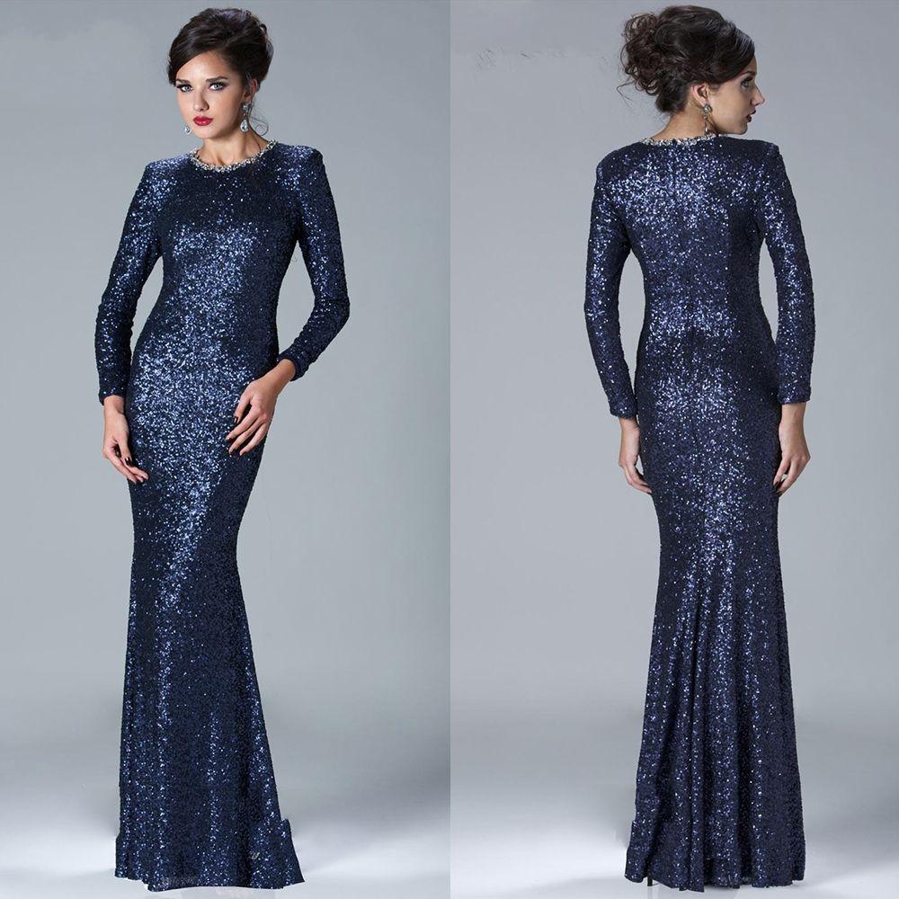 Find a Vintage Sequin Dark Navy Blue Evening Dress Long Sleeve Women ...