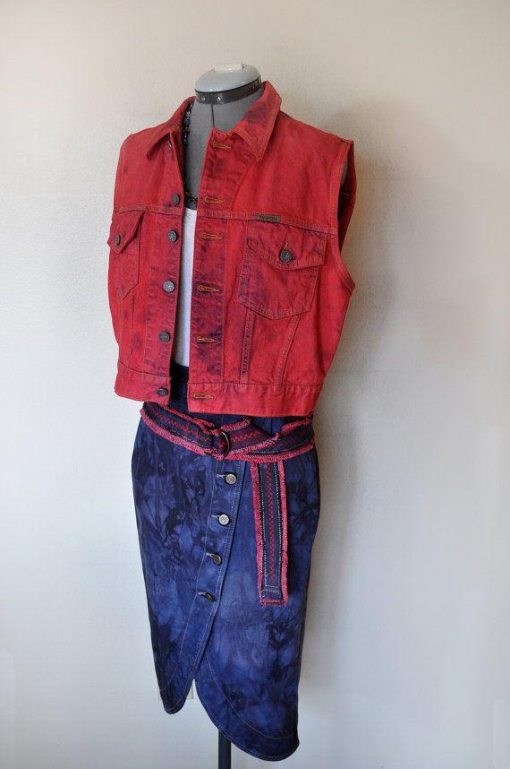 6139fb11486 Red Denim VEST - Intense Red Hand Dyed Rocker Upcycled Calvin Klein ...