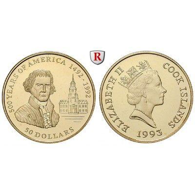 Cook Inseln, Elizabeth II., 50 Dollars 1993, 4,53 g fein, PP: Elizabeth II. seit 1952. 50 Dollars 4,53 g fein, 1993. 500 Jahre… #coins