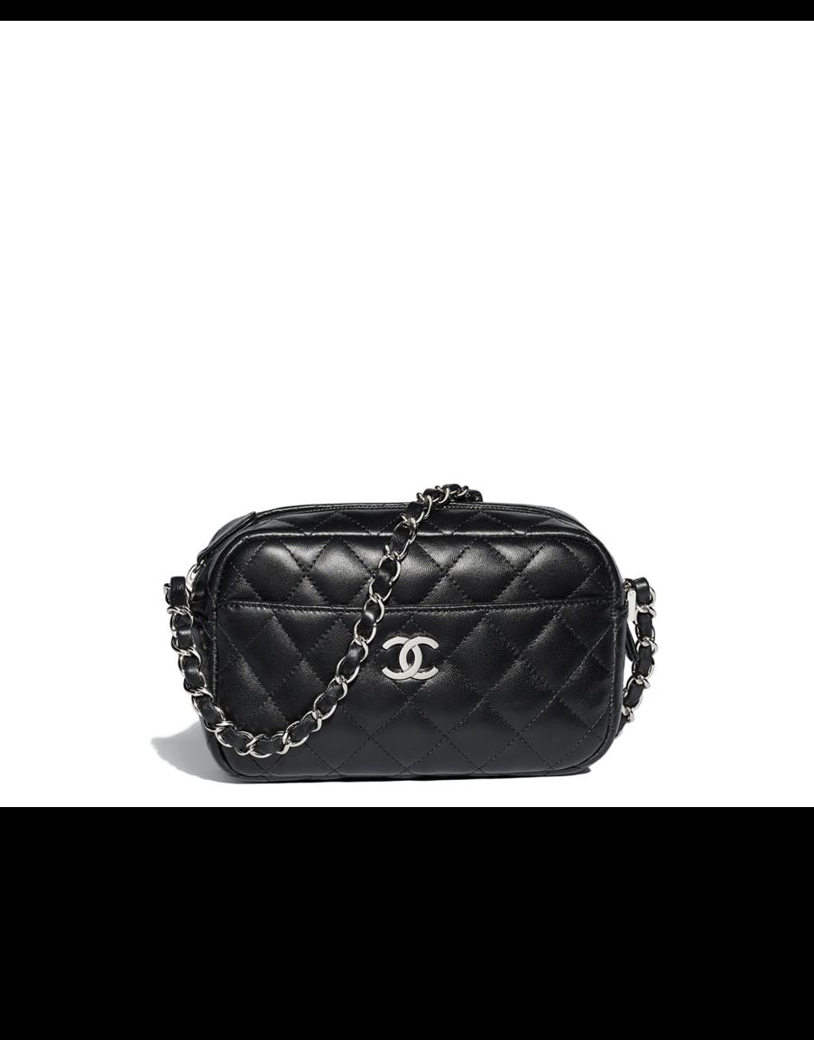 eac8627b2d53 Camera case, lambskin & silver-tone metal-black - CHANEL | Bags ...