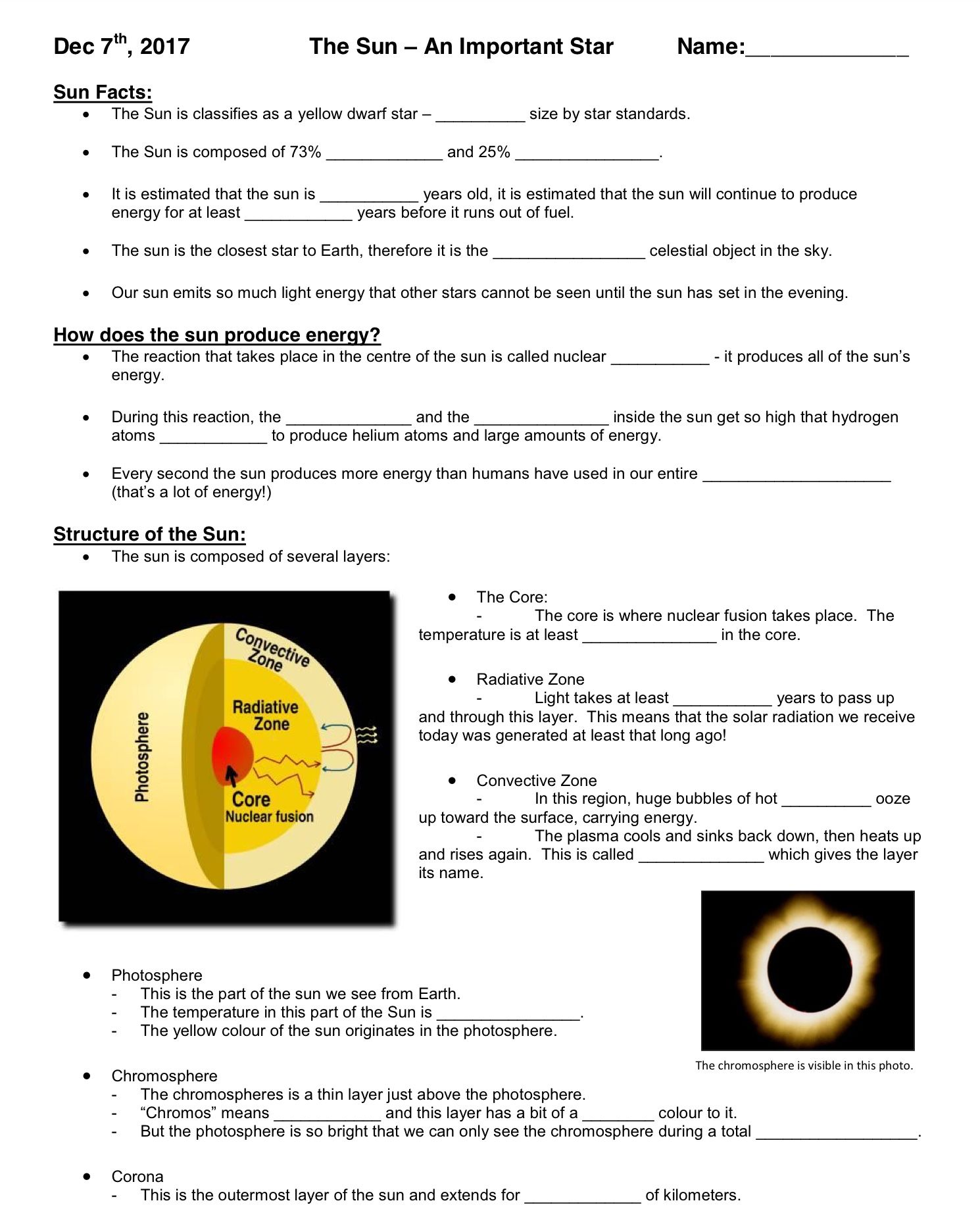 small resolution of The Sun - An Important Star - Worksheet - December 7