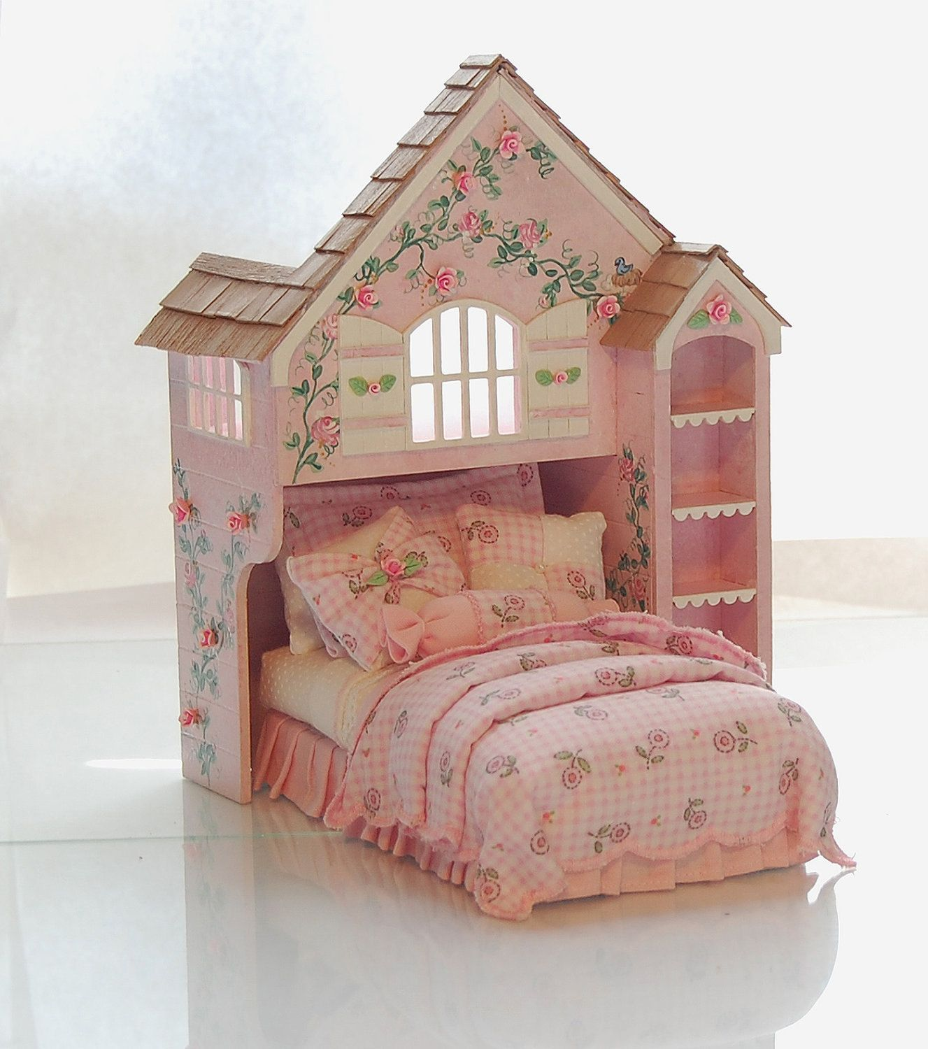 Pink & White Perfection PLAYHOUSE BED Dollhouse Miniature Custom