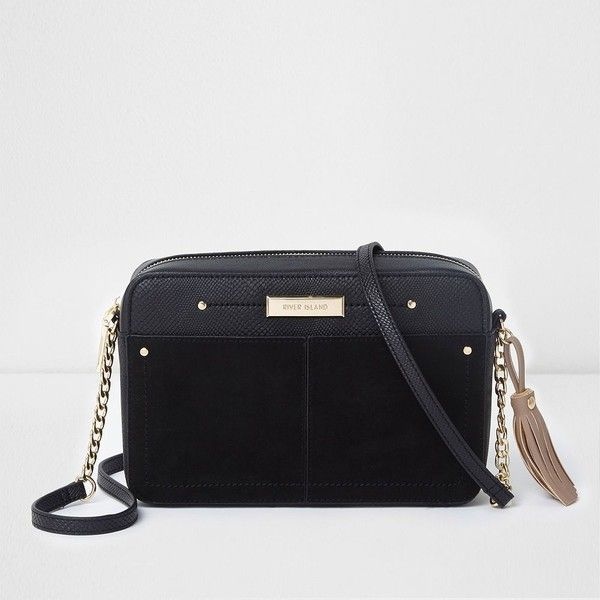6e19992f8ba0c River Island Black boxy front pocket cross body chain bag ($48) ❤ liked on