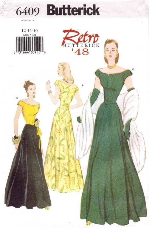 Retro 48 Off Shoulder Evening Gown Dress Butterick 6409 Sewing ...