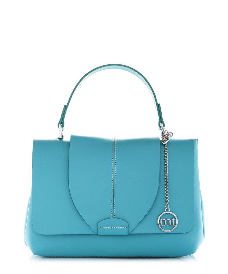 Turquoise leather flapover grab bag - Mia Tomazzi