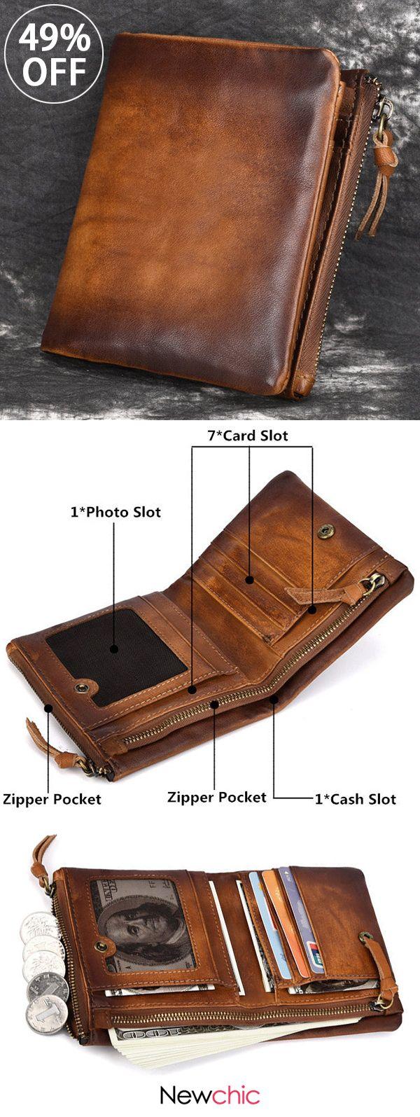 [49%off]Men Genuine Leather Vintage Short Wallet Double Zipper Coin Purse 7 Card Slot  #bags #wallet #vintage #purses