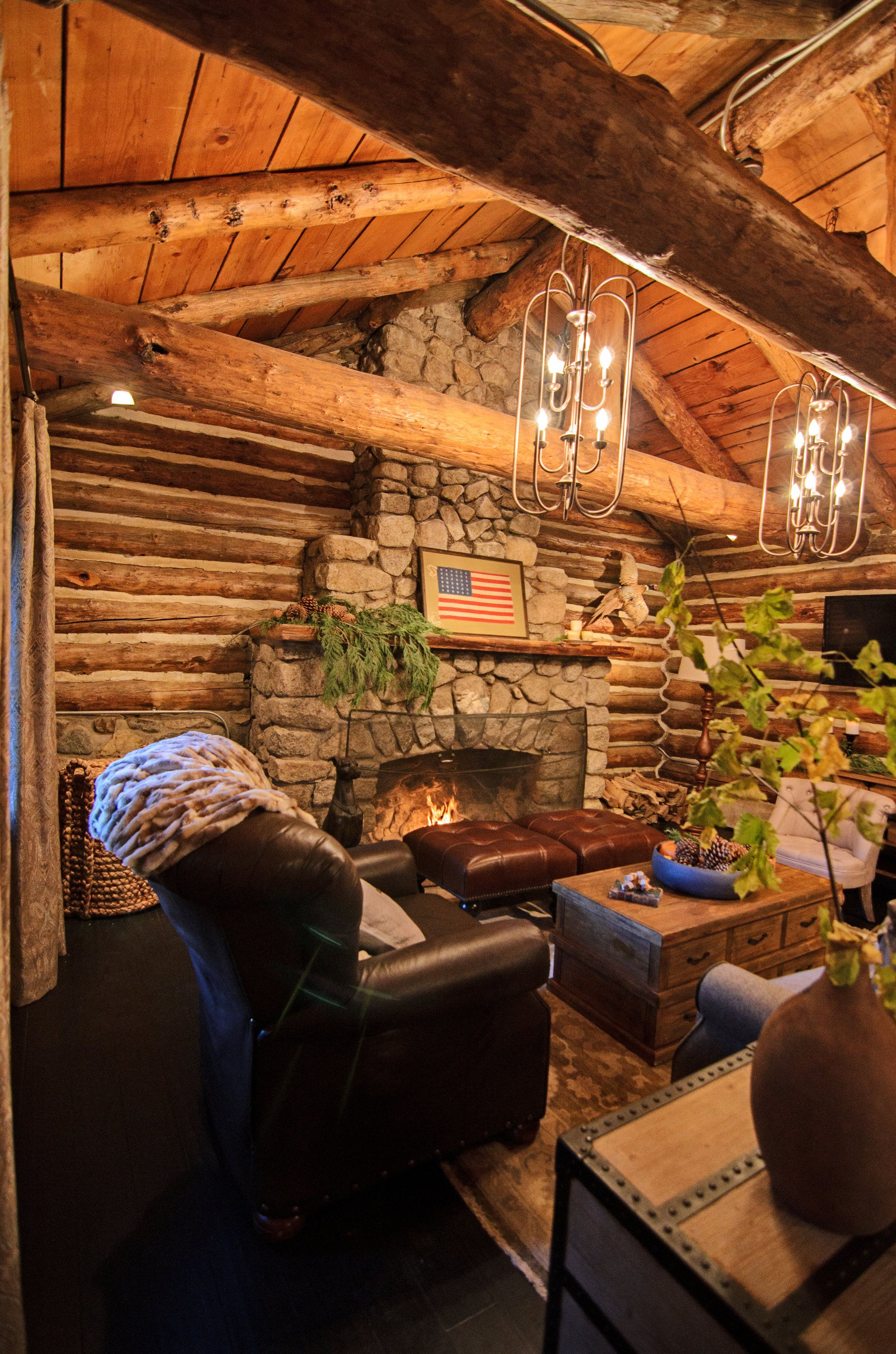 What do you think of this mountain cabin living room pleted by