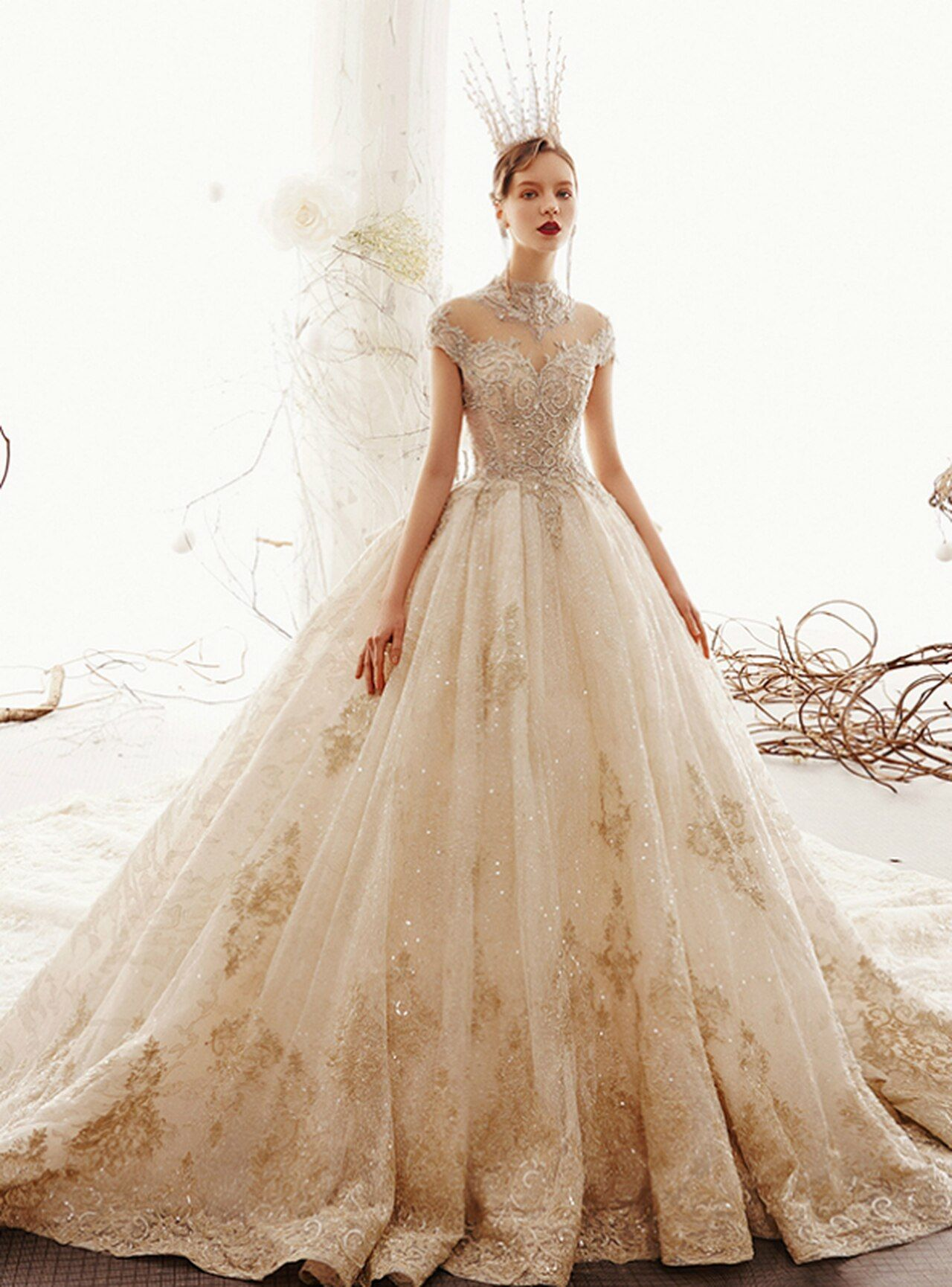 Champagne Ball Gown Tulle Appliques High Neck Cap Sleeve Wedding Dress With Long Train Wedding Dress Couture Ball Gowns Luxury Wedding Dress