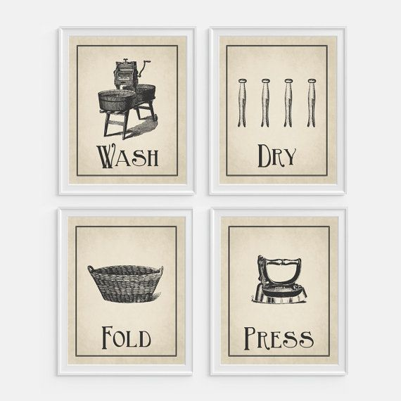Laundry Room Wall Art Print Wash Dry Fold Press Set Of 4 5x7 8x10 11x14