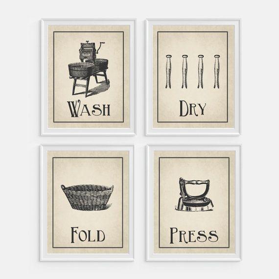 Laundry Room Wall Art Print Wash Dry Fold Press Set Of 4 5x7