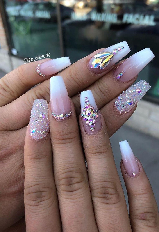 35 Unordinary Diamond Nail Design Ideas You Will Love It Diamond Nail Designs Nails Design With Rhinestones Diamond Nail Art