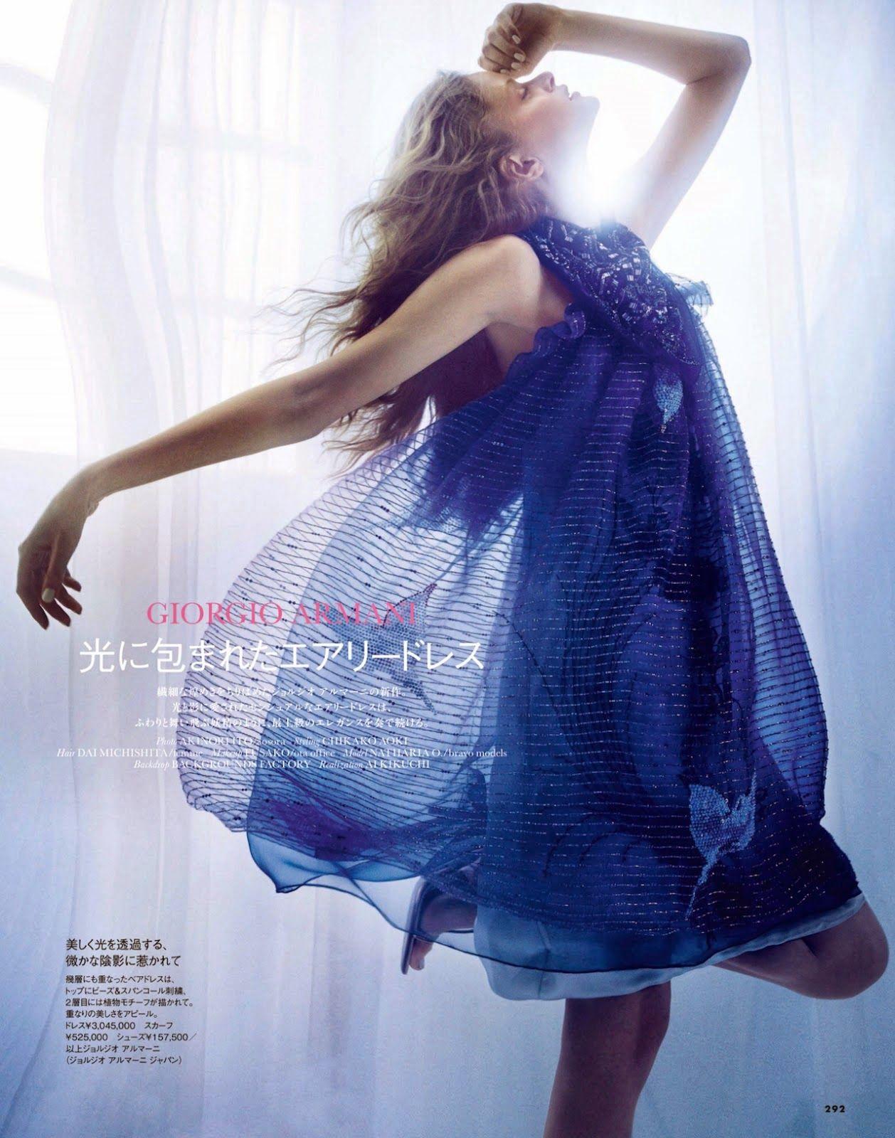"""Giorgio Armani"" Nathalia Oliveira by Akinori Ito for ELLE Japan May 2014"