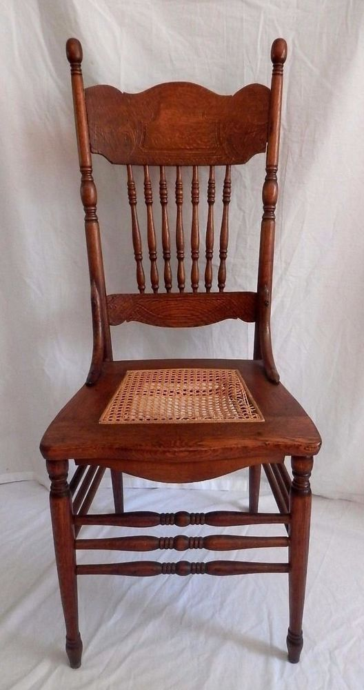 Antique Oak Wood Chair Press Back Ornate Cane Seat Dining My