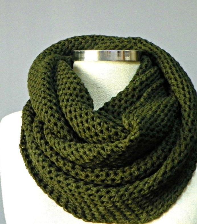 Envío al día siguiente, bufanda de capucha, bufanda de punto, bufanda unisex, bufanda de punto, regalo para ella, bufanda de capucha gruesa, bufanda infinita, bufanda, verde cazador