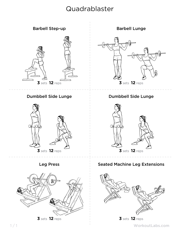 Quads-focused leg workout | I workout | Workout, Quad