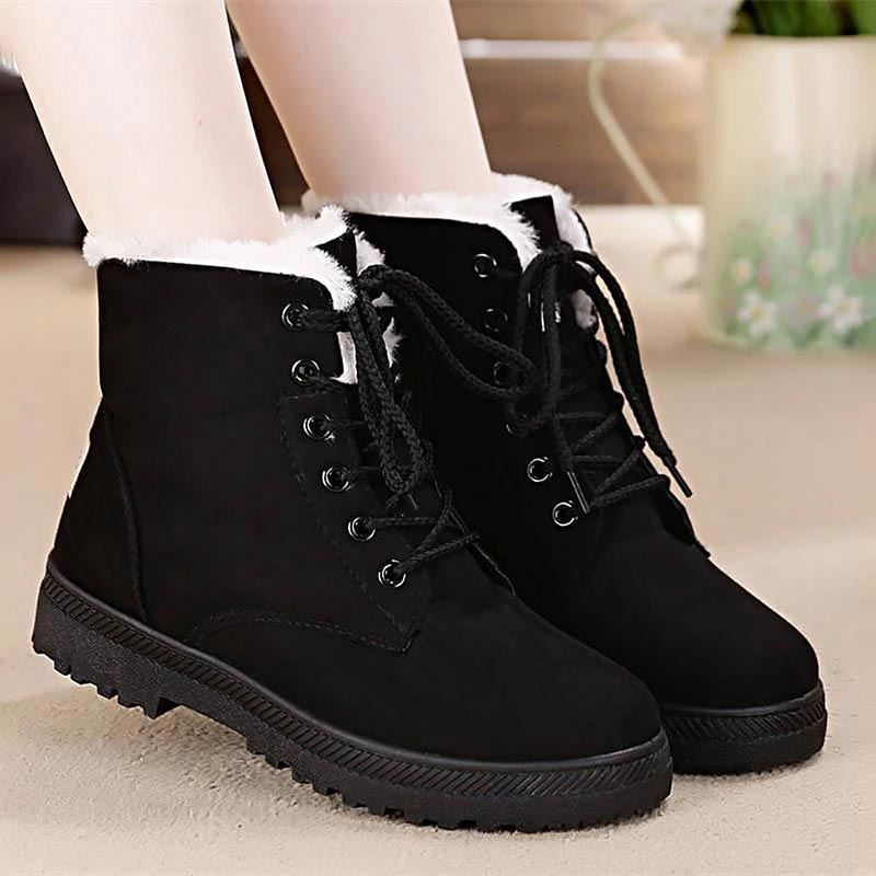 Photo of fur plush ankle boots lace-up shoes PU27