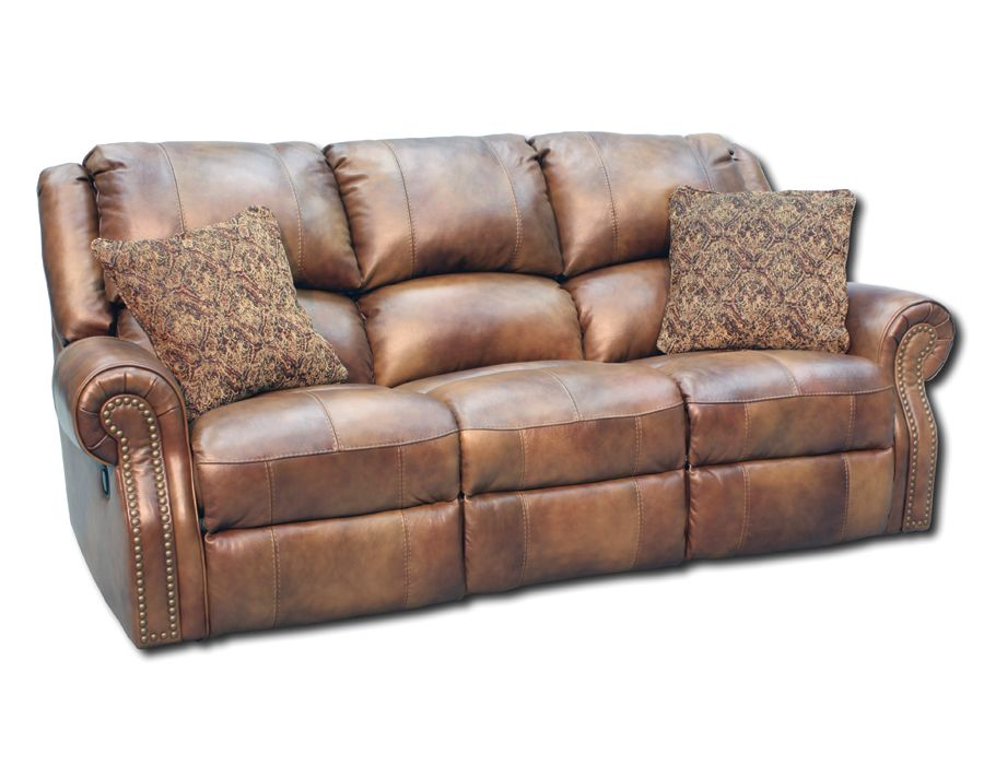 Recliner Sofa The Walworth reclining sofa in light brown leather is a traditional style that looks as good