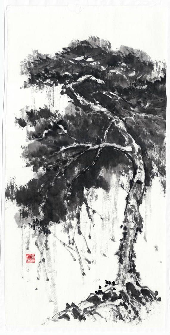 Pine Tree Original Painting Traditional Chinese Japanese Art