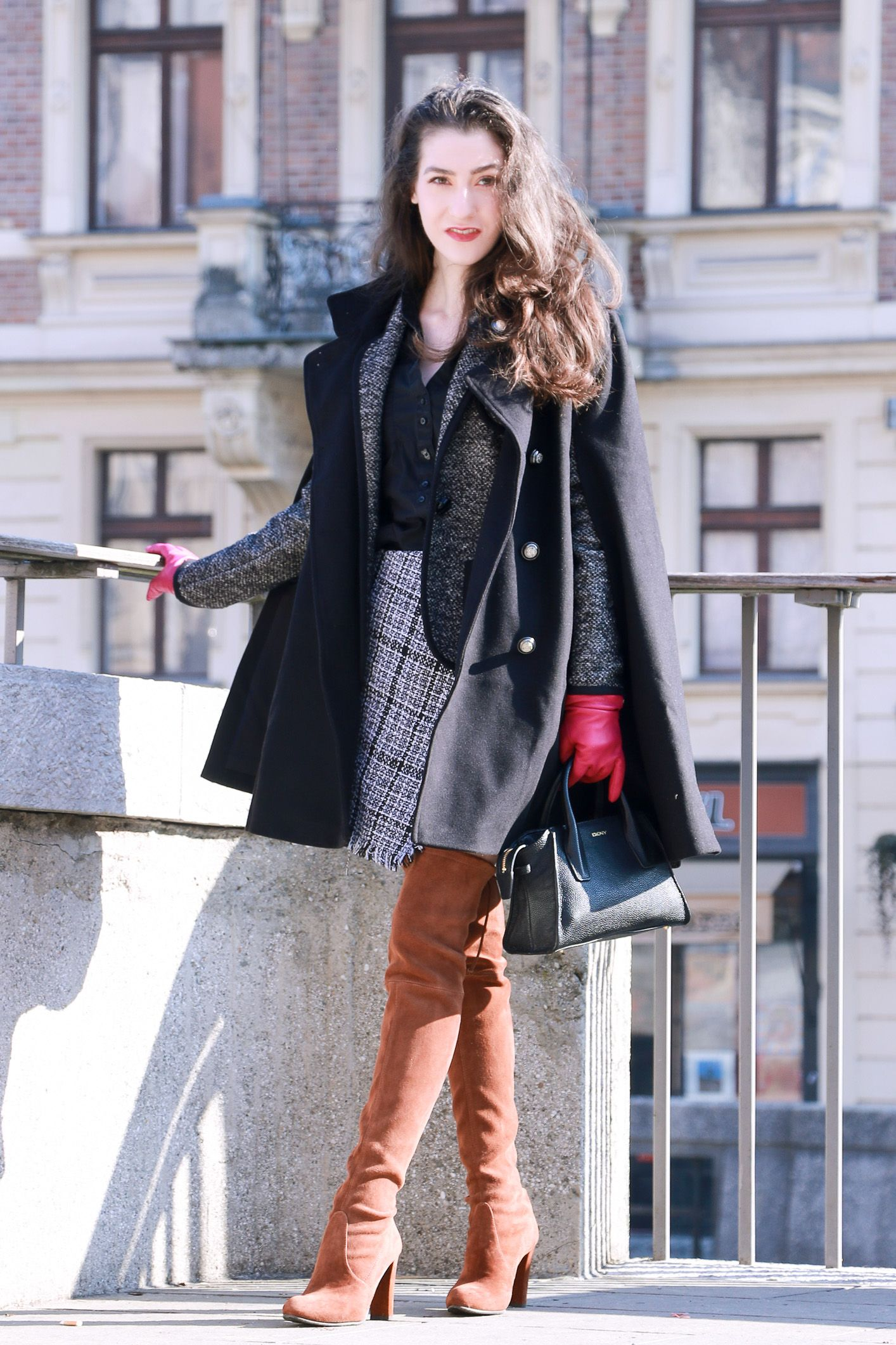 3254f38af Fashion blogger Veronika Lipar of Brunette From Wall Street sharing how to  wear the over the knee boots to work regarding the business casual code