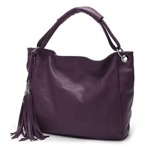 $8.65 Fashionable Women's Shoulder Bag With Solid Color and Tassels Design