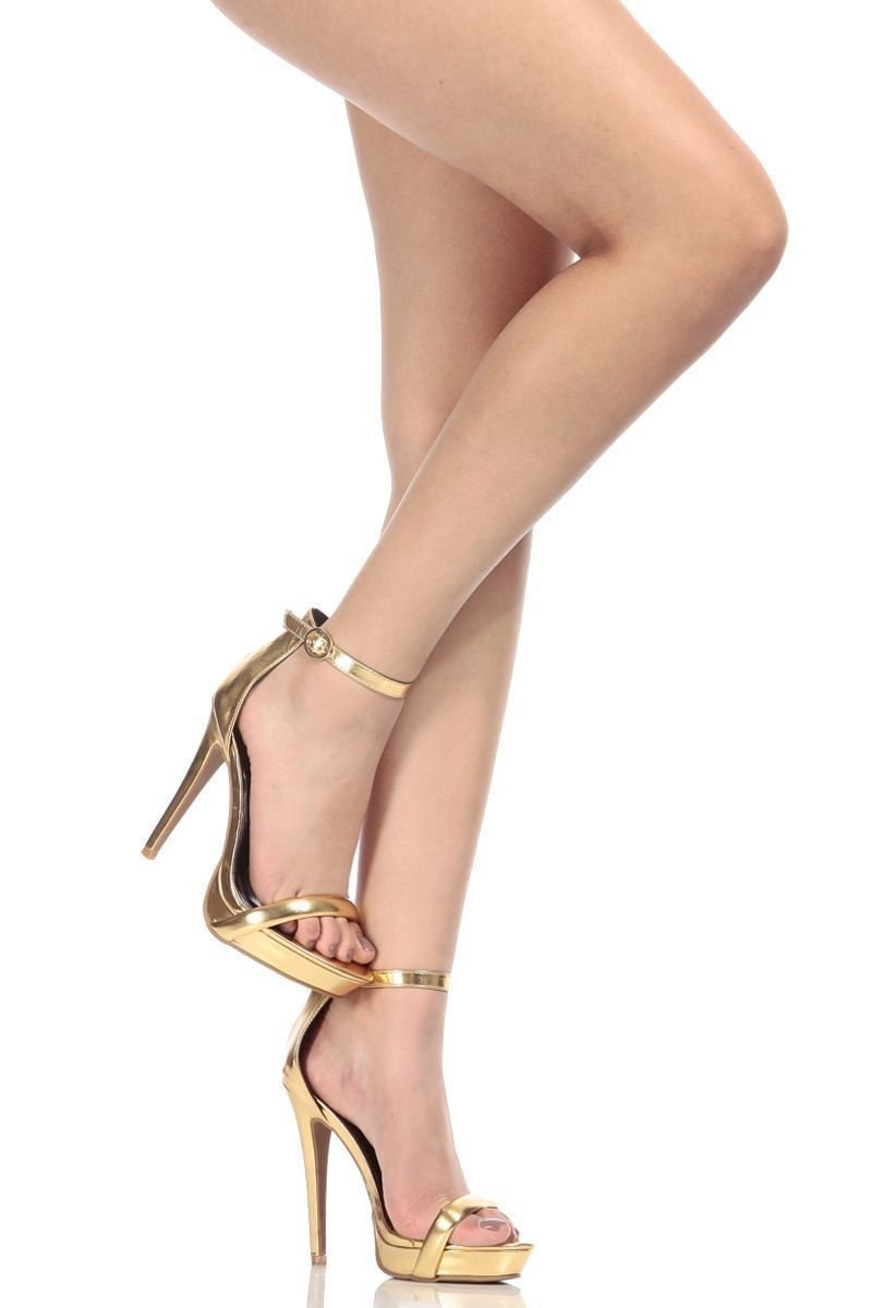 448f5776a8b Gold Faux Leather Ankle Strap Platform Heels   Cicihot Heel Shoes online  store sales Stiletto Heel Shoes