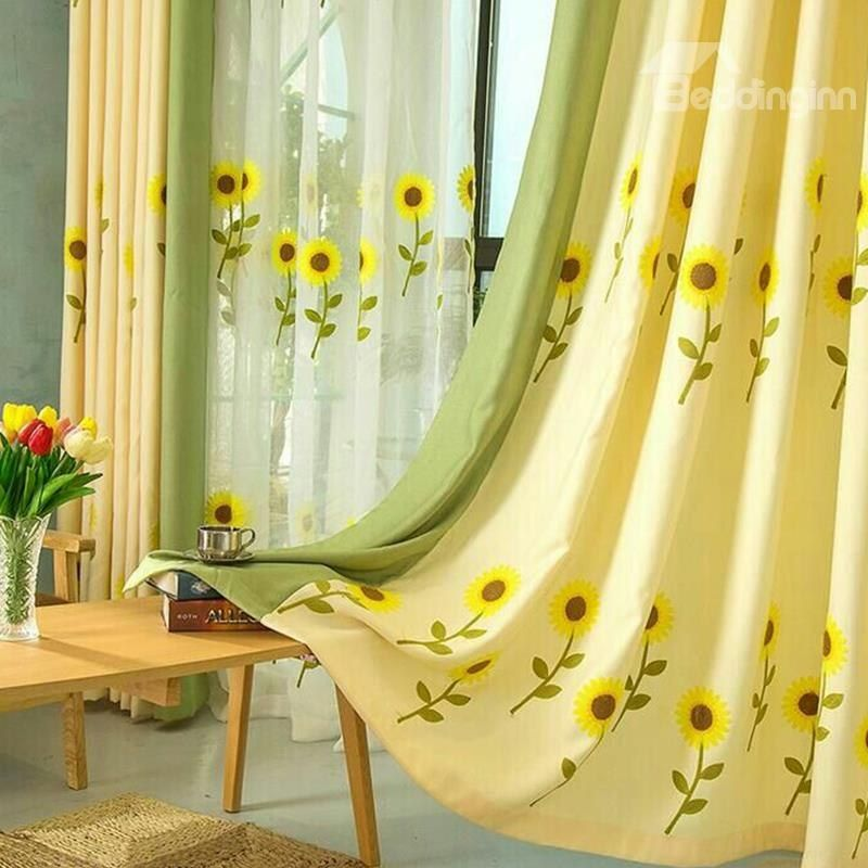 Decoration And Blackout Blooming Sunflowers Natural And Modern Style Polyester Curtain Curtains Living Room Curtains Living Room Bedroom #sunflower #curtains #for #living #room