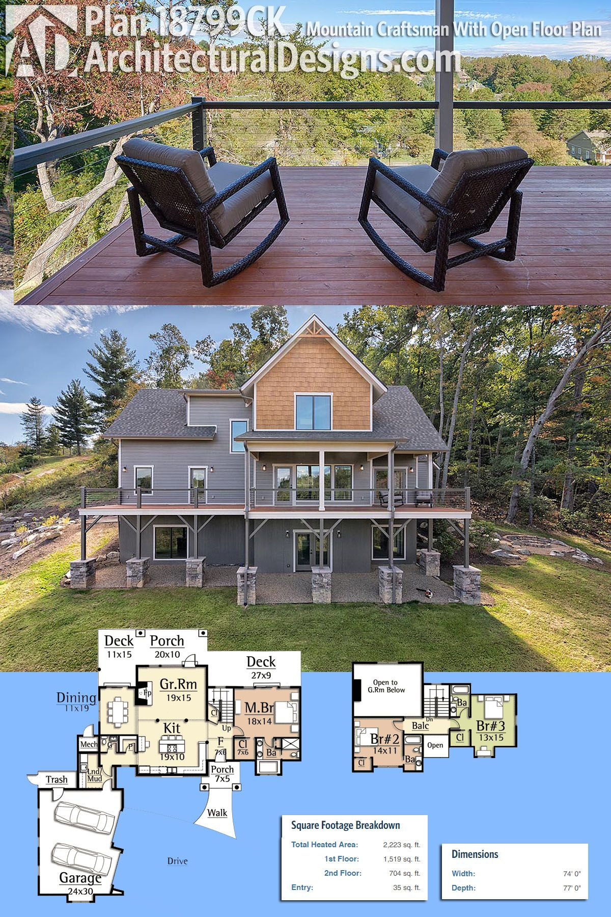 plan 18799ck mountain craftsman with open floor plan architecture rh pinterest es