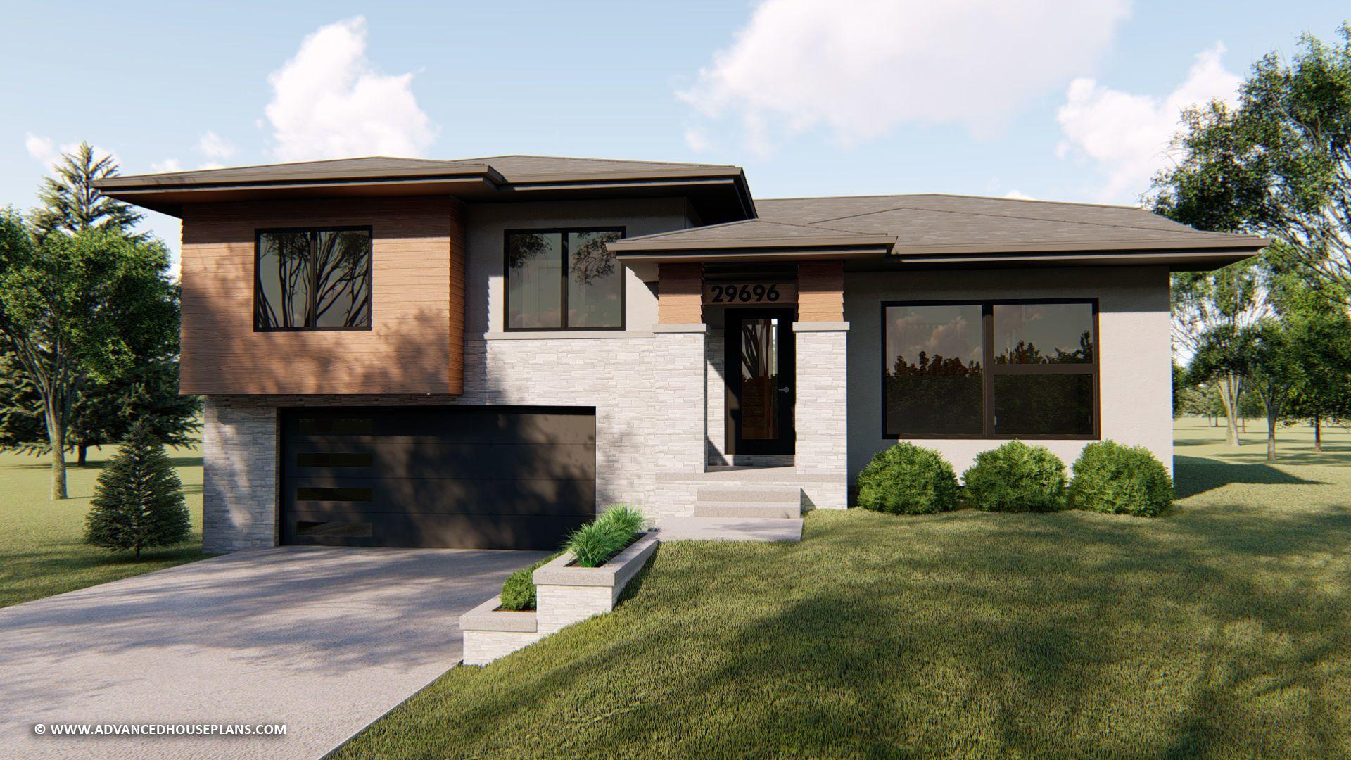 Split Level Modern Prairie Style House Plan